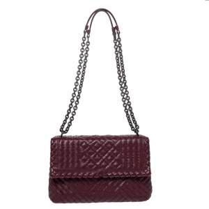 Bottega Veneta Burgundy Woven Leather Small Olimpia Shoulder Bag