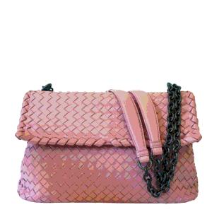 Bottega Veneta Pink Intrecciato Leather Olimpia Shoulder Bag