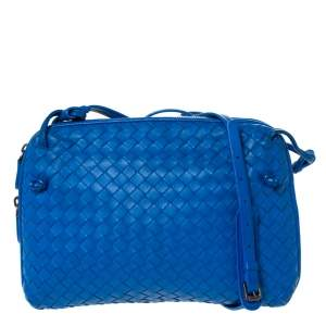 Bottega Veneta Blue Intrecciato Leather Nodini Crossbody Bag