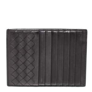 Bottega Veneta Dark Brown Leather Zip Card Holder