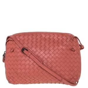 Bottega Veneta Pastel Red Intrecciato Leather Nodini Crossbody Bag