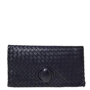 Bottega Veneta Dark Purple Intrecciato Leather Twist Lock Clutch