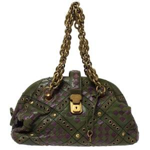 Bottega Veneta Green/Purple Intrecciato Woven Leather Grommet Bowler Bag