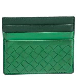 Bottega Veneta Green Intrecciato Leather Card Holder