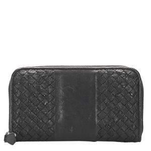 Bottega Veneta Black Leather Intrecciato Wallet