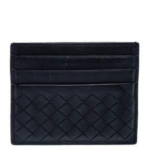 Bottega Veneta Black Intrecciato Leather Card Holder