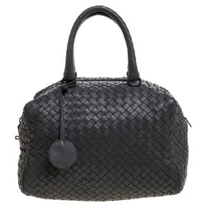 Bottega Veneta Dark Grey Intrecciato Leather Boston Bag