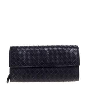 Bottega Veneta Purple Intrecciato Leather Continental Wallet