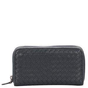 Bottega Black Veneta Intrecciato Leather Zip Around Wallet
