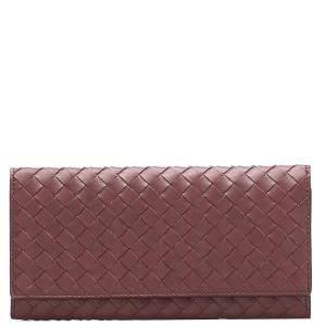 Bottega Veneta Red Intrecciato Leather Continental Wallet