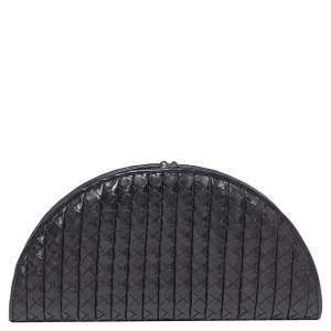 Bottega Veneta Black Intreciatto Leather Fan Clutch