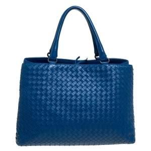 Bottega Veneta Blue Intrecciato Nappa Leather Tote