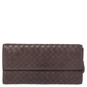 Bottega Veneta Brown Intrecciato Leather Continental Flap Wallet