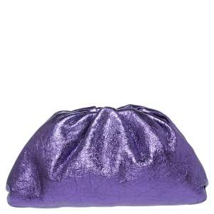Bottega Veneta Metallic Purple Crinkled Leather The Pouch Clutch