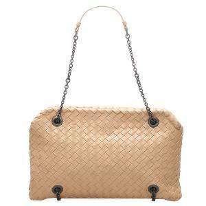 Bottega Veneta Beige Leather Intrecciato Chain Shoulder Bag