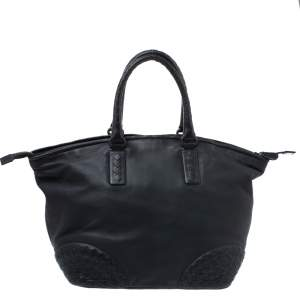 Bottega Veneta Black Leather Satchel
