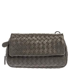Bottega Veneta Grey Intrecciato Leather Flap Chain Crossbody Bag