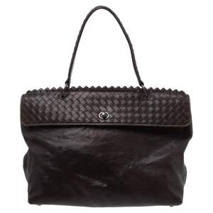 Bottega Veneta Dark Grey Intrecciato Leather Tina Top Handle Bag