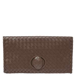Bottega Veneta Brown Intrecciato Leather Twist Lock Clutch