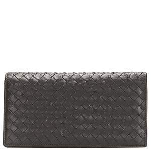 Bottega Veneta Brown Leather Intrecciato Bifold Wallet