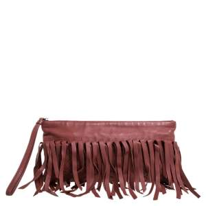 Bottega Veneta Rust Intrecciato Leather Fringe Clutch