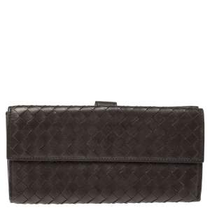 Bottega Veneta Dark Brown Intrecciato Leather Flap Continental Wallet