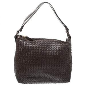 Bottega Veneta Dark Brown Intrecciato Leather Pyramid Shoulder Bag