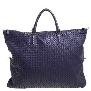 Bottega Veneta Purple Intrecciato Nappa Leather Maxi Convertible Tote