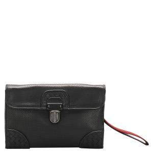 Bottega Veneta Black Leather Intrecciato Perforated Clutch Bag