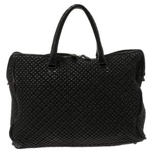 Bottega Veneta Quilted Black Leather Tote