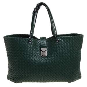 Bottega Veneta Green Intrecciato Leather Shopper Tote