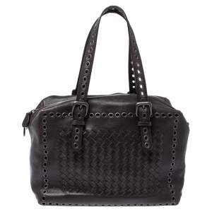 Bottega Veneta Dark Grey Intrecciato Leather Grommet Satchel