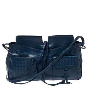 Bottega Veneta Dark Teal Intrecciato Leather Front Pockets Shoulder bag