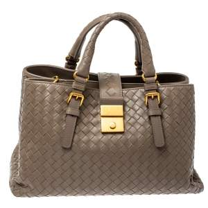 Bottega Veneta Dark Beige Intrecciato Leather Small Roma Tote