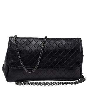 Bottega Veneta Black Intrecciato Leather Flap Zip Detail Crossbody Bag