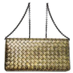 Bottega Veneta Gold Metallic Intrecciato Wallet on Chain Bag