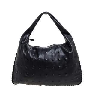 Bottega Veneta Black Intrecciato Leather Maxi Veneta Studded Hobo
