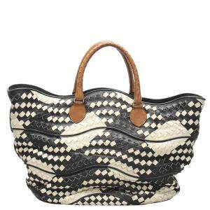 Bottega Veneta Black/White Intrecciato Leather Tote Bag