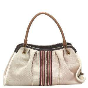 Bottega Veneta Beige Canvas Satchel