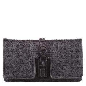 Bottega Veneta Brown Intrecciato Lizard Leather Clutch Bag