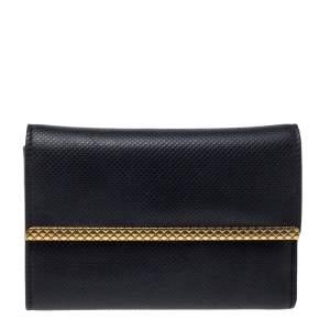 Bottega Veneta Black Textured Leather Trifold Wallet