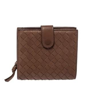 Bottega Veneta Brown Intrecciato Leather French Wallet