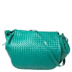 Bottega Veneta Green Intrecciato Leather Drawstring Flap Shoulder Bag