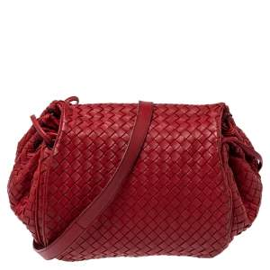 Bottega Veneta Red Intrecciato Leather Drawstring Flap Crossbody Bag