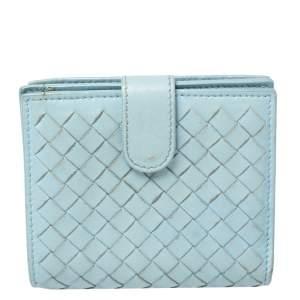 Bottega Veneta Blue Intrecciato Leather French Wallet