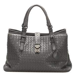 Bottega Veneta Black Intrecciato Roma Leather Tote Bag