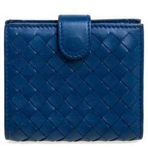 Bottega Veneta Blue Intrecciato Leather French Wallet