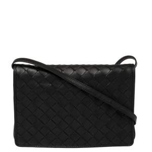 Bottega Veneta Black Intrecciato Leather Small Flap Crossbody Bag