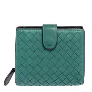 Bottega Veneta Green Intrecciato Leather French Wallet