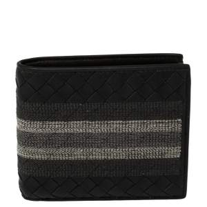 Bottega Veneta Black Intrecciato Leather Embroidered Stripe Bifold Wallet